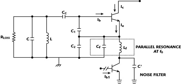 typical colpitts oscillator circuit with a noise filtering